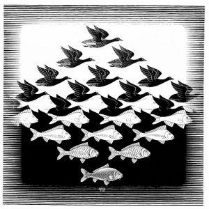 Aire y agua I (1938), xilografía de M. C. Escher