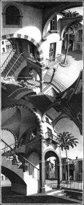 Arriba y abajo (1947), litografía de M. C. Escher