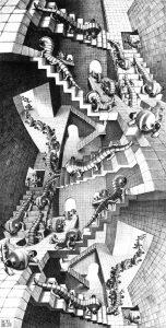 Casa de escaleras (1951), litografía de M. C. Escher