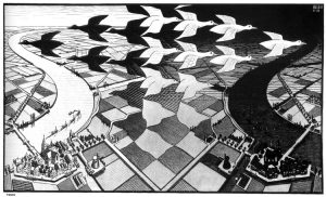Día y noche (1938), xilografía de M. C. Escher