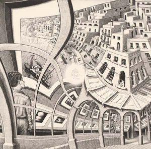 Galería de grabados (1956), litografía de M. C. Escher
