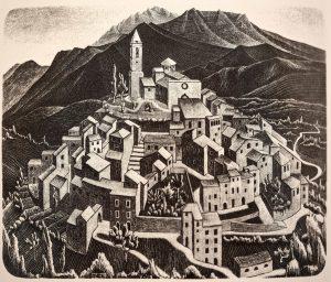 Goriano Sicoli, los Abruzos (1929), primera litografía de M. C. Escher