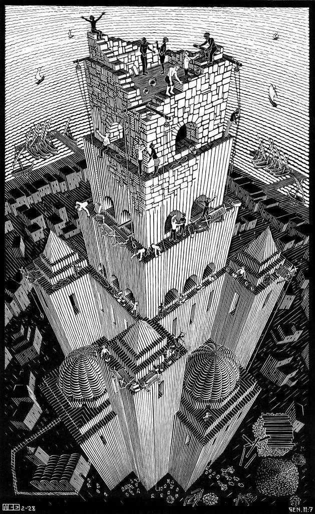 La Torre de Babel (1928), xilografía de M. C. Escher