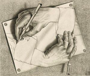Manos dibujando (1948), litografía de M. C. Escher