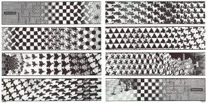 Metamorfosis (1939-1940), xilografía de M. C. Escher