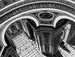 San Pedro, Roma (1935), grabado en madera de M. C. Escher