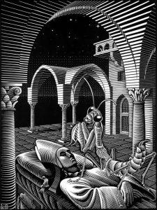Sueño (1935), grabado en madera de M. C. Escher