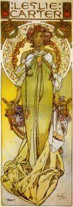 Cartel para la actriz Leslie Carter, de Alfons Mucha (1908).