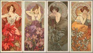 Cuatro gemas, de Alfons Mucha (1900).