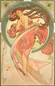 Danza, de la serie Las artes de Alfons Mucha (1898).