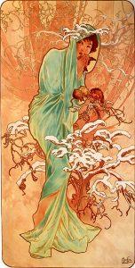 Invierno, de Las cuatro estaciones de Alfons Mucha (1896).