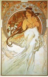 Música, de la serie Las artes de Alfons Mucha (1898).