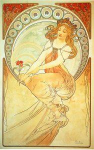 Pintura, de la serie Las artes de Alfons Mucha (1898).