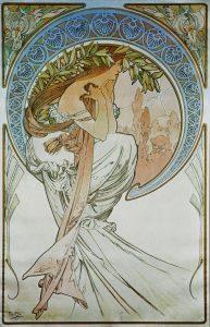Poesía, de la serie Las artes de Alfons Mucha (1898).