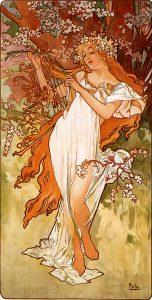 Primavera, de Las cuatro estaciones de Alfons Mucha (1896).