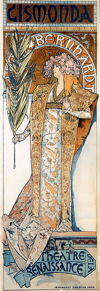 Théâtre de la Renaissance. El famoso cartel litográfico con la actriz Sarah Bernhardt en el papel protagonista de Gismonda, de Alfons Mucha (1894)