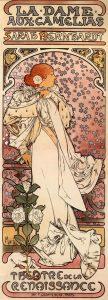 Théâtre de la Renaissance. La Dame aux camélias, de Alfons Mucha (1896).
